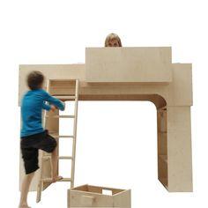 Stoere #hoogslaper Bed kan ook op de grond worden gezet en samen met beide kasten veel speelse opstellingen mogelijk | Pilat Le Pilates, Kids Furniture, Playroom, Kids Room, Layout, Children, Bern, Cottage, Design