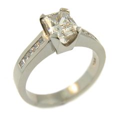 18ct White Gold Rectangle Radiant & Princess Cut Diamond Ring, handmade at Cameron Jewellery by Sam Drummond