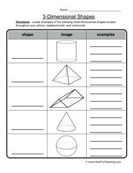 3 D shapes worksheet 2