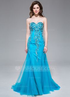 Mermaid Sweetheart Sweep Train Tulle Prom Dress With Beading Sequins (017041024) - JJsHouse