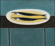 William Scott, Fish on a Plate, 1949 or 1950, Oil on canvas, 50.8 × 61 cm / 20 × 24 in, Private collection