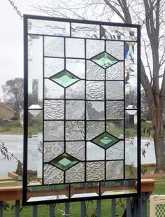 Beveled stained glass panel window geometric clear quilt