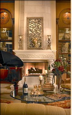 Traditionally Designed Fireplance with Precast Mantel and Decorator Accents Built By Landmark Custom Homes, Decorated by Perla Lichi Interiors