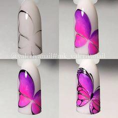 Nail Art Decoration With Rhinestones And Glitter Gel Nail Art, Nail Art Diy, Diy Nails, Acrylic Nails, Butterfly Nail Designs, Butterfly Nail Art, Nail Art Designs Videos, Cute Nail Designs, Animal Nail Art