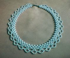 Free pattern for beautiful beaded necklace Blue Pearls - http://beadsmagic.com/?p=4033