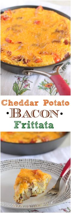 Cheddar Potato Bacon Frittata, simple breakfast or brunch recipe that all of your guests will love! #frittata #recipe