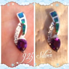 """Spotted while shopping on Poshmark: """"Sterling Silver Fire Opal Amethyst Pendant NEW""""! #poshmark #fashion #shopping #style #Jewelry"""
