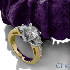 Engagement Round Two Tone Channel Princess Cubic Zirconia Cz Ring Round Two, Three Stone Rings, Gold Engagement Rings, Princess Cut, Heart Ring, Channel, Jewelry, Jewellery Making, Jewerly
