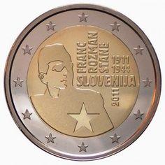 2 euro anniversary of the birth of Franc Rozman - 2011 - Series: Commemorative 2 euro coins - Slovenia Euro Währung, Piece Euro, Euro Coins, Legal Tender, Commemorative Coins, World Coins, Money Matters, Coin Collecting, Silver Coins