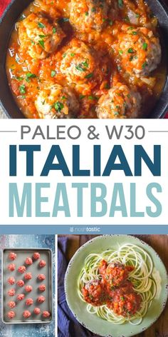 Easy Paleo Meatballs Recipe with rave reviews! This Easy and quick oven baked meatballs recipe is so popular, they are ready in less than 30 minutes and served with an Italian style marinara sauce. Also works great for Whole 30, gluten free, dairy free. www.noshtastic.com #paleomeatballs #marinara #sauce #whole30 #meatballs #bakedmeatballs