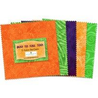 """505-27-505 BOO TO YOU, Too! Charm Squares - 24 each 5"""" Squares, Halloween Colors,  Wilmington Prints, 5 Karat Mini Gems, Orange, Lime Green by MaterialGirlsQuilt on Etsy"""