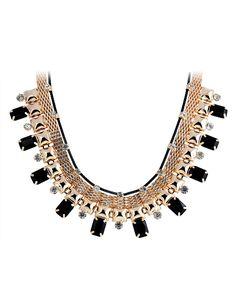 Frida Noir Bib Necklace-$48