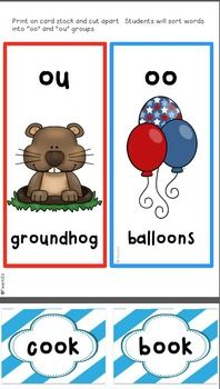 Groundhogs activities include:  tech connection, weather predictor, science connection, Let's compare, oo/ou sorting center, sh/ch sorting center, ABC order center, and making words center. $