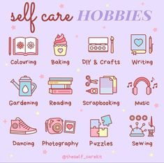 Looking to switch up your self care routine? Add a new hobby to your day with these fun and relaxing suggestions from @theself_carekit ! 💜 #selfcaretips #selfcare #selfcareroutine Self Care Bullet Journal, Bullet Journal Mental Health, Motivacional Quotes, Vie Motivation, Study Motivation Quotes, Happiness Challenge, Mental And Emotional Health, Self Care Activities, Self Improvement Tips