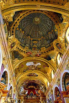 Trompe l'œil at its best ~ Fresco dome painted on low vaulting, Jesuit Church, Vienna, Austria by Andrea Pozzo, 1703
