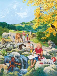Adults and children enjoy peace with the animals in Paradise Images Bible, Bible Pictures, Life In Paradise, Paradise On Earth, Jehovah Paradise, Paradise Pictures, Bible Topics, Padre Celestial, Earth Photos
