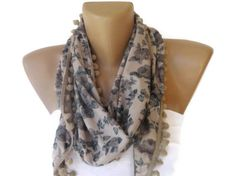 beige blue gray floral print fashion scarf , womens fashion accessories , spring summer , all seasons via Etsy