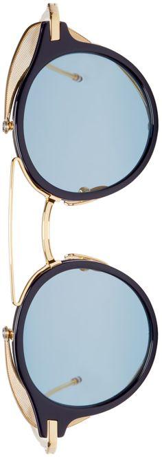 Navy & Gold Visor Sunglasses Thom Browne - Navy & Gold Visor Sunglasses
