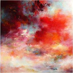 Passions 7003, ( VENDU, SOLD) - Peinture, 70x5x70 cm ©2011 par Rikka Ayasaki - Peinture contemporaine, Toile, Fantaisie, rouge, couleur, abstraction, nuages, arbres, paysage, lumière