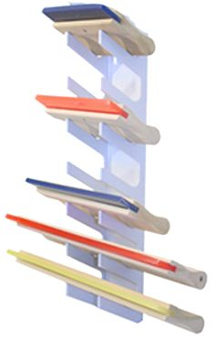 If you have #squeegees then you need a squeegee rack! This rack is made by #WorkHorse Products and offers an easy #storage solution for your #screenprinting needs!