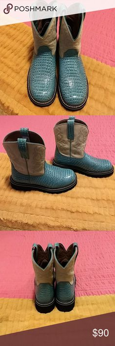 Ariat Boots Ariat Fatbaby Boots in Teal/Turquoise. They are a size 9 in women's.  Very good condition.  I did wear them a lot but minimal wear that I can see.  The upper is cream/off white color with teal stitching.  I wore my jeans over them, I can see in some spots areas that look somewhat darker than others on the cream part.  You really have to look to see, nothing noticable from any distance. Tried to get a few pics of the upper part to show. Ariat Shoes Ankle Boots & Booties