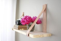 Make It: DIY Leather and Wood Suspended Shelf