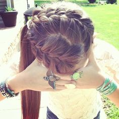 Brunette Braided & Side Ponytail - Hairstyles and Beauty Tips