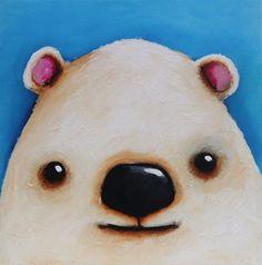 Original Acrylic Canvas Art Whimsical decor North pole Polar Bear Painting  #Modernism