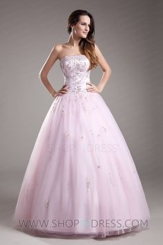 Formal Masquerade Ball Gowns | Ball Gown Strapless Floor Length Tulle Pink Quinceanera Dress with ...