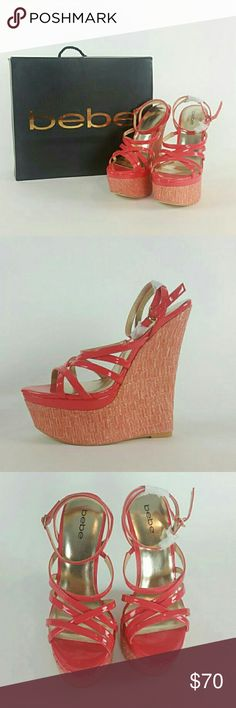 Bebe Nori wedge pink new size 9 New in box bebe Nori wedge size 9. Pink straps with pink and gold wedge retail $139 bebe Shoes Wedges