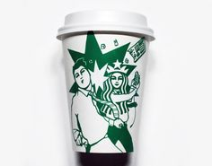 Starbucks Cup || Soo Min Kim    ||  Soo Min Kim is an artist from Seoul, South Korea who creates series of Starbucks cup artworks feautring illustrations and scenes directly onto the well-known mermaid trademark.