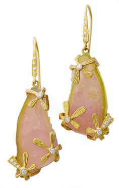 Laurie Kaiser Cosmos Earrings in pink tourmaline, diamonds and 18k yellow gold.