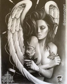 Angel with thorn roses Body Art Tattoos, Tattoo Drawings, Sleeve Tattoos, Cool Tattoos, Roses Tatoo, Tattoo Gesicht, Angel Y Diablo, Engel Tattoo, Ange Demon