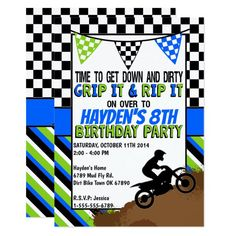 Shop Dirt Bike Birthday Party Invitation created by TiffsSweetDesigns. Motocross Birthday Party, Bike Birthday Parties, Dirt Bike Birthday, 8th Birthday, Birthday Party Invitations, Birthday Ideas, Motorcycle Birthday, Gymnastics Birthday, Dirt Bike Party