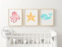 Marine Animals SET, illustrations made in watercolor. Includes the 3 ilu . Watercolor Illustration, Watercolor Art, Nursery Art, Nursery Decor, Kids Poster, Mini Canvas, Watercolor Animals, Soft Colors, Cool Drawings