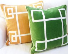 Love banding trim and/or grosgrain tape trim on pillows!