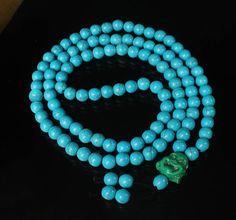 108 Turquoise Blue Ball & Green Buddha Beads Buddhist Prayer Mala Necklace 41