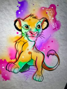 Watercolor Lion, Watercolor Tattoo, Game Tattoos, Gaming Tattoo, Le Roi Lion, Artist Journal, Desenho Tattoo, Disney Tattoos, Pencil Art