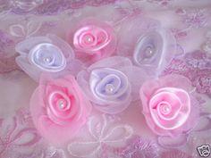 Satin Flower Appliques 40 Pcs White Color Only Wedding | eBay