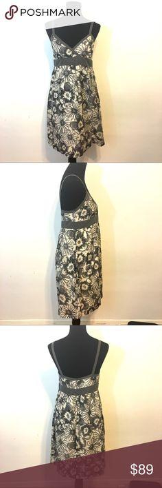 Vince Floral Dress Vince Floral Silk and cotton Dress Size 8, great condition, super soft, gray and white color scheme Vince Dresses