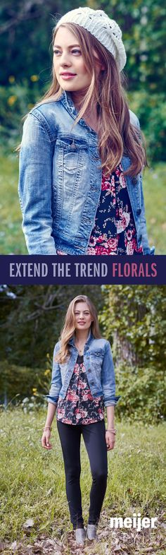 How to make your summer wardrobe last longer! Add a knit beanie, denim jacket and dainty bangles to your favorite florals. See how else we extend the floral trend at MeijerStyle.com. #MeijerStyle