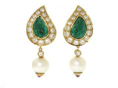 Carved Emerald, Diamond and Pearl Earrings in 18K - Beladora Antique and Estate Jewelry