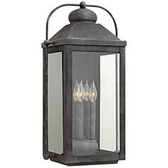 "Anchorage 9 1/4"" Wide Aged Zinc 4 Candle Outdoor Wall Light"