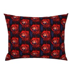 PARROT HEAD 3 STAGGERED INDIGO RED on Campine by paysmage | Roostery Home Decor Pillow Shams, Spoonflower, Parrot, Indigo, Pillow Covers, Cotton Fabric, Bedding, Fabrics, Tropical