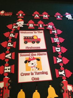 Fire Truck Party Banner and Welcome Sign by NottJustBows on Etsy, $40.00