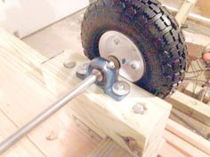Learn how to make a wagon, from the wagon steering axle to the DIY gate. Perfect for a standalone utility cart or a lawn mower trailer. Lawn Tractor Trailer, Lawn Mower Trailer, Garden Tool Storage, Garden Tools, Garage Storage, Diy Craft Projects, Crafts, Rack Bike, Bike Cart