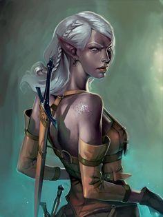 elf female rogue thief fantasy portrait