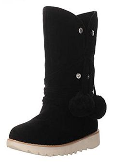 Women's Warm Folded Faux Fur Lined Flat Ankle High Boots Slip On Winter Booties With Poms