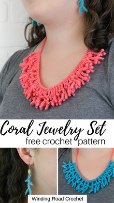 Jewelry OFF! Free crochet coral necklace and earring set by Winding Road Crochet. Quick Crochet, Tunisian Crochet, Love Crochet, Crochet Flowers, Single Crochet, Knit Crochet, Crochet Necklace Pattern, Crochet Jewelry Patterns, Crochet Accessories