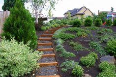 side yard landscaping ideas steep hillside.  love the steps